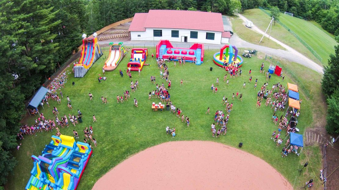 Aerial view of Camp Mataponi's July 4th celebration