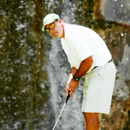 Dan Isdaner playing a game of golf