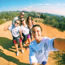 Marcy and family take selfie on hike