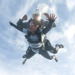 Marcy sky dives in her Mataponi t-shirt