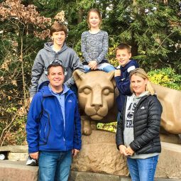 Todd, Molly and kids with Penn State lion