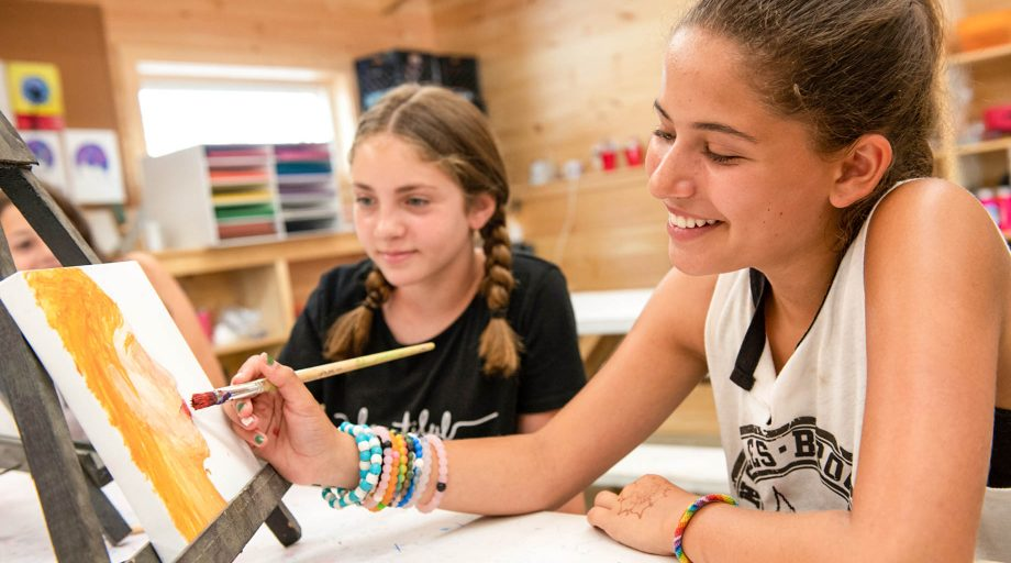 girls painting in art class
