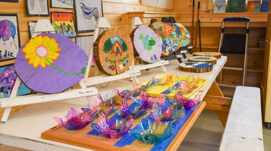 craft projects lined up on a table