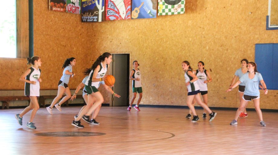 Campers participate in intercamp basketball game