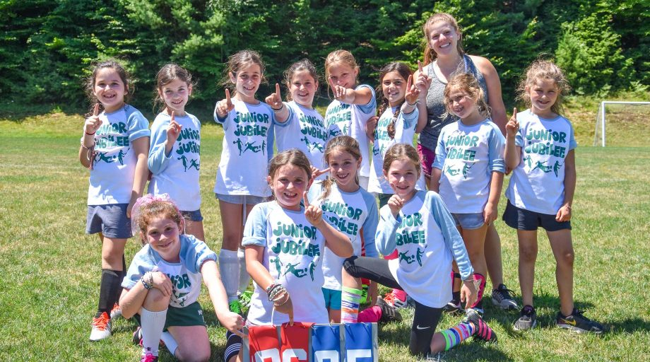 A group of Junior Jubilee campers on the soccer field