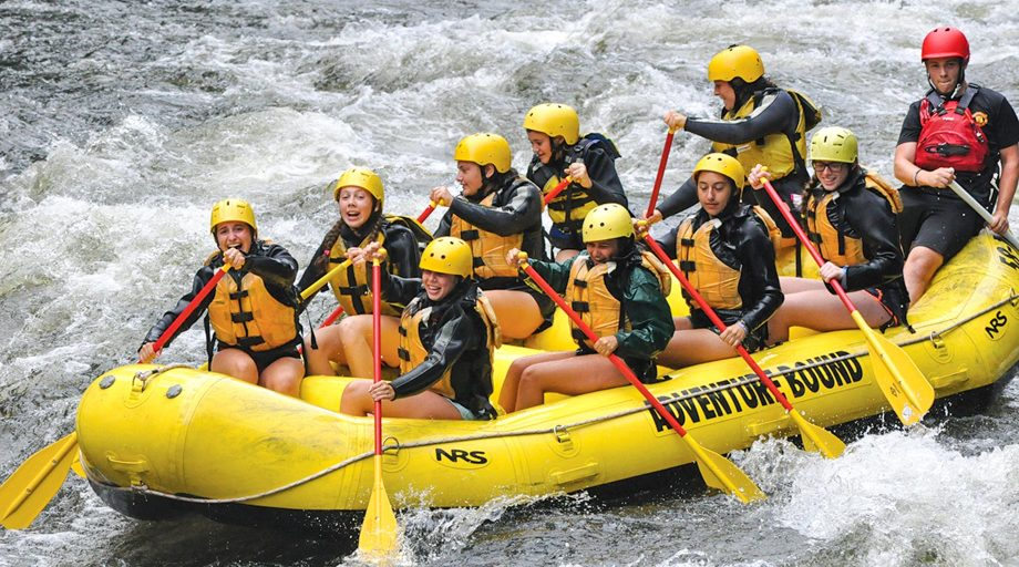 a group of campers on a white water rafting trip