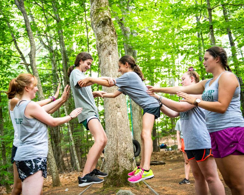 Mataponi campers on low ropes course challenge