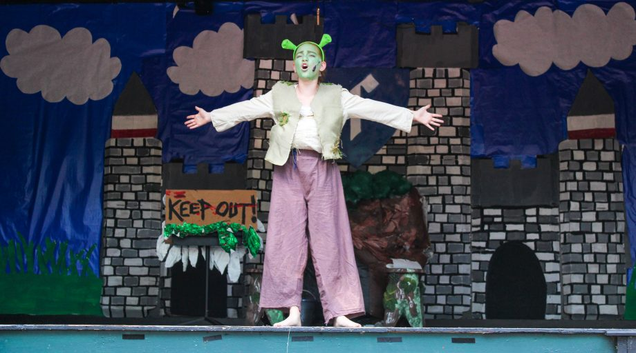 Camper dressed as Shrek performs in play