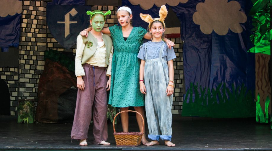 Group of campers perform in camp Shrek play
