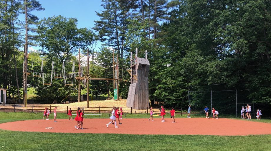 campers playing softball